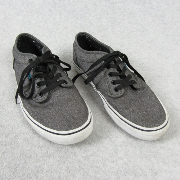 VANS MENS ATWOOD Low Top Gray Canvas Skate Shoes, Size 8